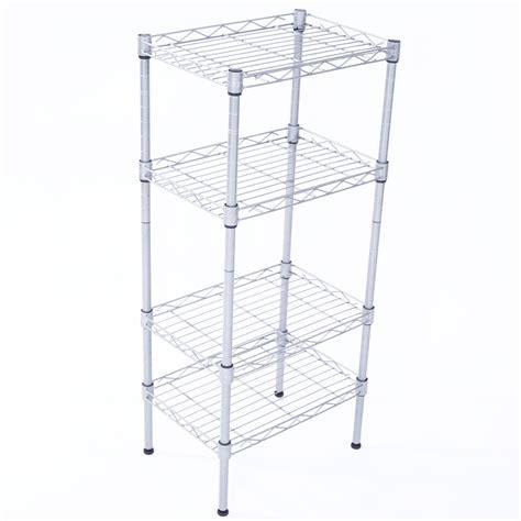 4 Tier Wire Shelving Steel Rack Shelf Adjustable Unit Garage Kitchen Storage Ebay Wire Shelving Installation Template
