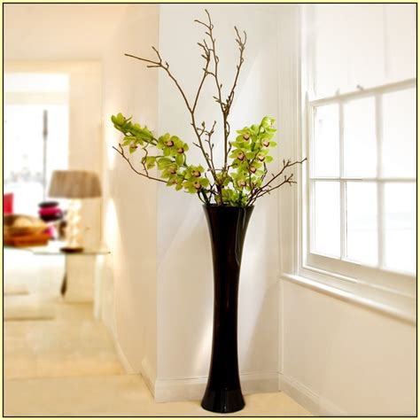 Exceptional Black Church.com #10: Best-one-adorable-dark-design-tall-glass-floor-vase-home-ideas-stuffed-by-beauties-green-orchid-on-the-elegant-livingroom.jpg