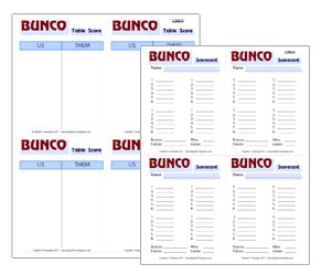 bunco punch card template free printable bunco score sheets