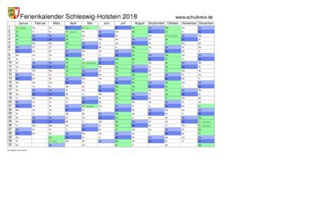 Kalender 2018 Pdf Schleswig Holstein Schulkreis De Schulferien Kalender Schleswig Holstein Sh