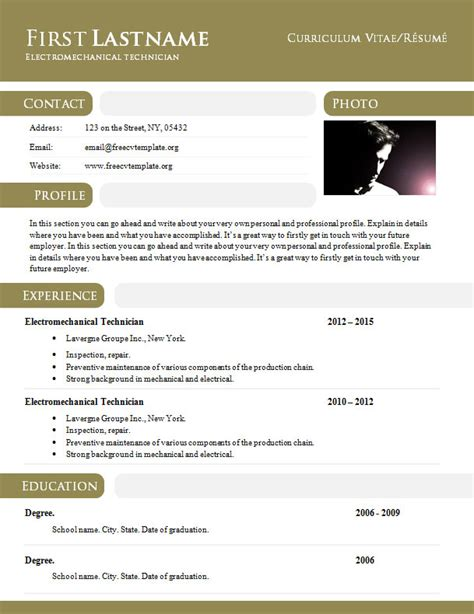 Doc Resume Templates by Curriculum Vitae R 233 Sum 233 Template In Doc Format 897 903