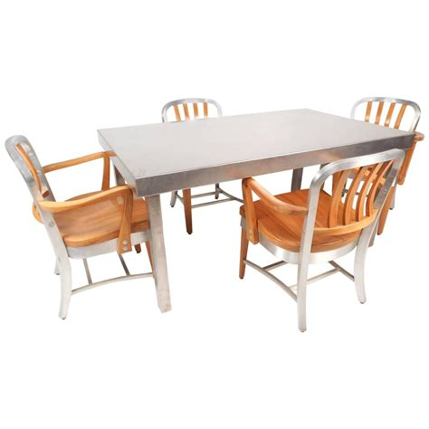 eight industrial metal dining chairs at 1stdibs vintage industrial metal dining set by shaw walker for