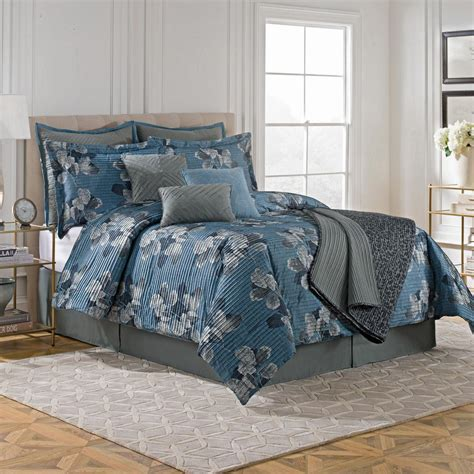 10 piece queen comforter set style 212 steel blue pleated leaf scroll queen 10 piece