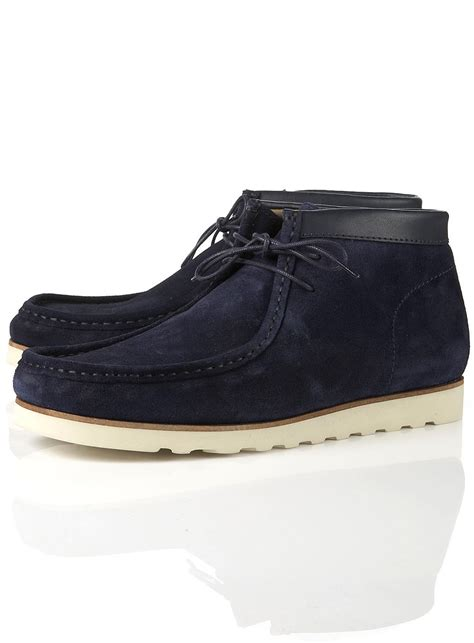 mens boots topman topman archie wallaby boot in blue for lyst