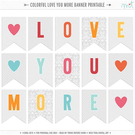 printable i love you banner free colorful love you more banner printable