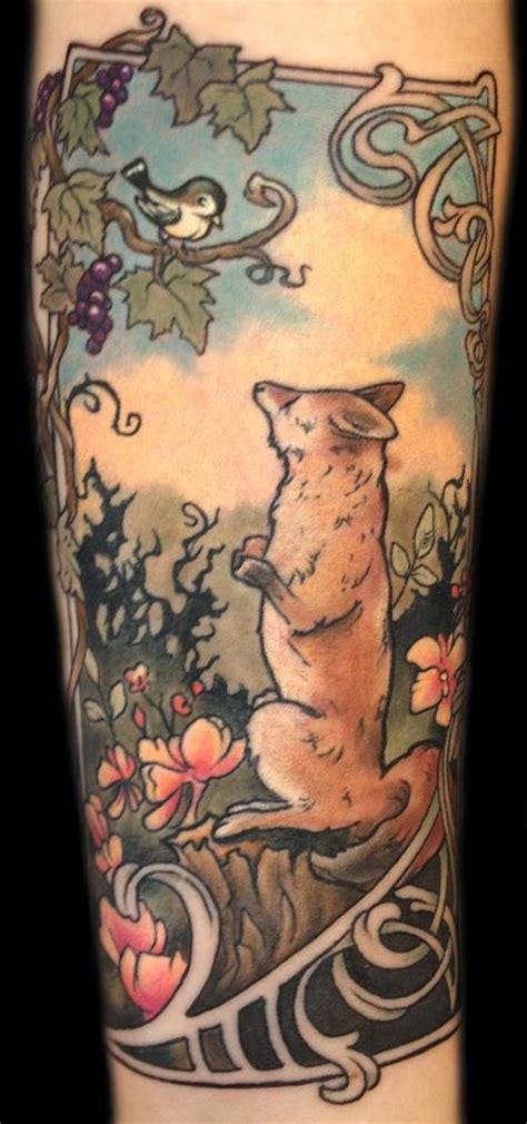 art deco tattoos nouveau fox illustration by mathew clarke