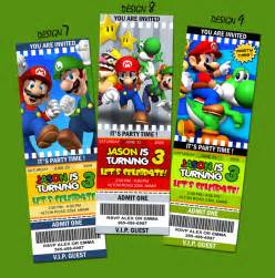 unique personalized mario brothers ticket style birthday invitations thepartyanimal