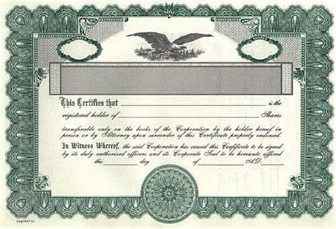 stock certificate and common stock template sample form