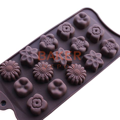 Cetakan Silicon New 15 Holes silicone mold new 15 holes with 5 kinds of flower silicone chocolate mould cube mold diy
