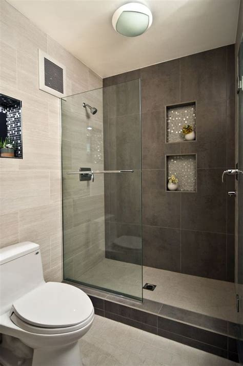 picture of large scale brown shower tiles