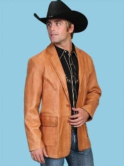mens scully tan leather 'rancher' western blazer