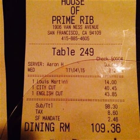 House Of Prime Rib Prices by House Of Prime Rib San Francisco Ca United States