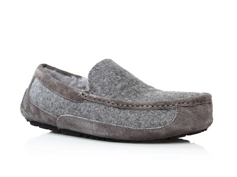 ugg grey slippers ugg ascot wool slippers in gray for lyst