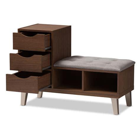 baxton studio arielle modern  contemporary walnut wood