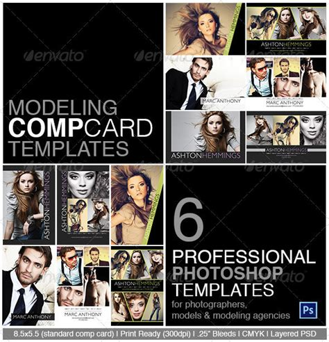 composite card template free model comp card photoshop template on behance