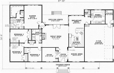 lakeview 2804 3 bedrooms and 2 baths the house designers southern style house plans 2804 square foot home 1