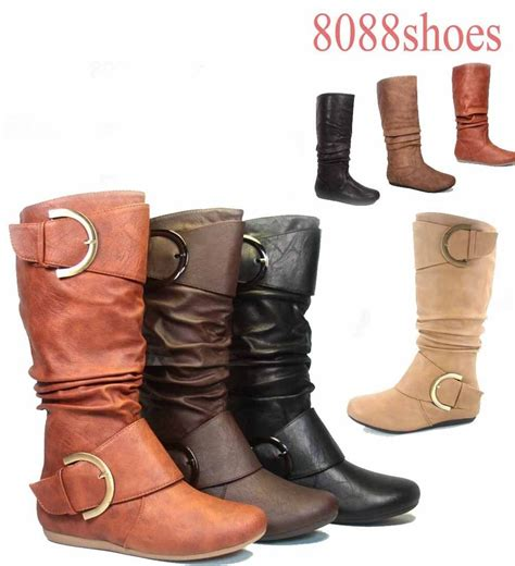 most comfortable flat boots women s mid calf knee high round toe slouch comfort casual