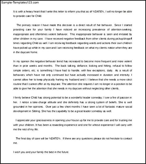 Cancellation Letter Daycare Family Daycare Termination Letter Template From Caretaker Sle Templates