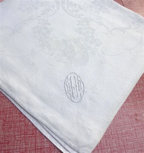 White Napkin Pattern | monogram vintage damask linen napkin white rose garlands