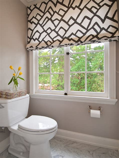 patterned fabric roman shades gray bathroom contemporary bathroom tamara mack design