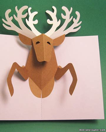 reindeer card template reindeer pop up card martha stewart