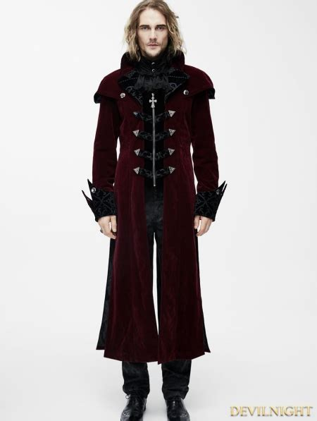 red gothic vintage palace style long jacket for men devilnight co uk