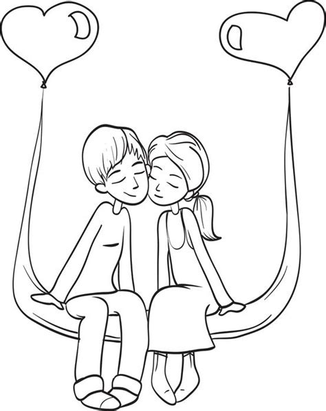 Coloring Pages Love Couple | free printable valentine s day couple coloring page for