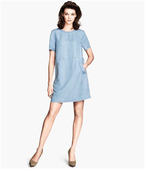 H Dres lyst h m denim dress in blue