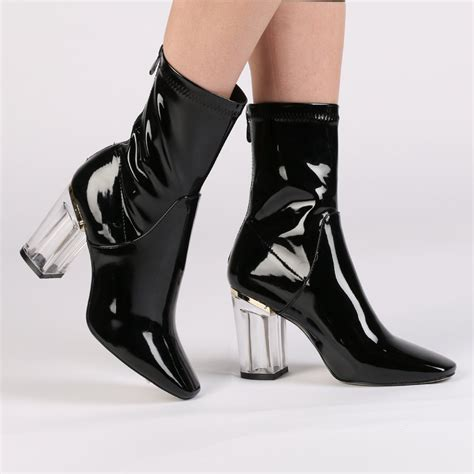 Heeled Ankle Boots perspex heeled ankle boots in black desire