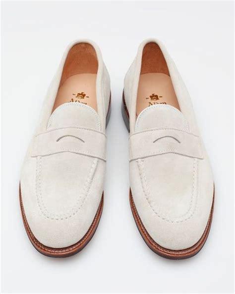 alden suede loafer alden white suede loafer in white for lyst