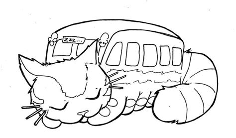 Totoro Sleeping Catbus Colouring Page Colouring Totoro Coloring Pages