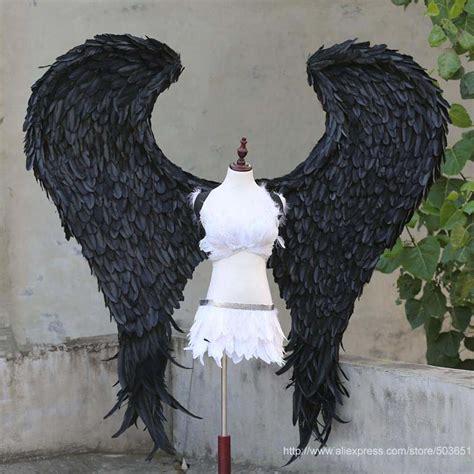 Sayap Setan 1 ukuran besar setan malaikat sayap bulu sayap buatan tangan murni kualitas tinggi craft hitam
