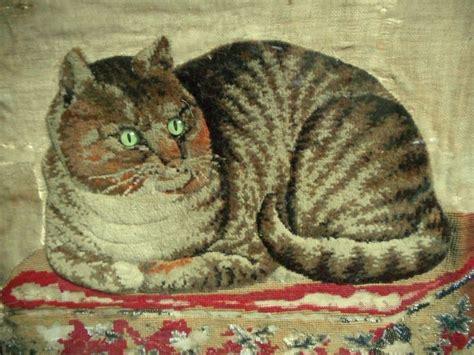 beadwork cat details about antique 19th c raised