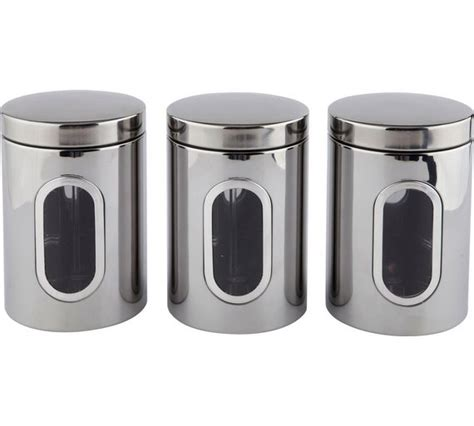stainless steel kitchen storage canisters set of three buy home stainless steel storage canisters at argos co uk