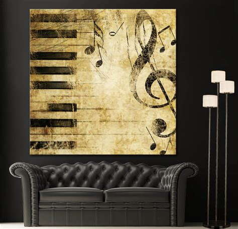 black white piano note canvas home wall