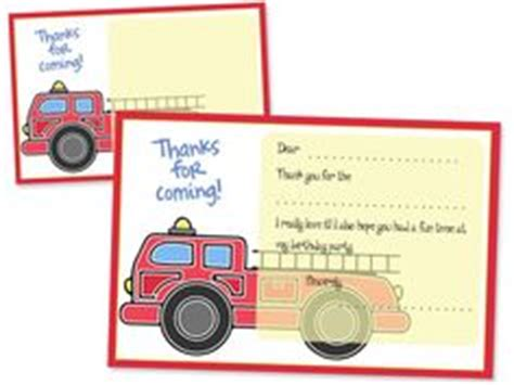 truck thank you card template fireman sam printable birthday invitation by