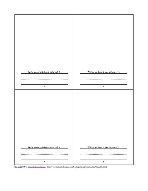 Make Your Own Tiny Picture Dictionary A Short Book To Print Enchantedlearning Com Make Your Own Book Template Printable
