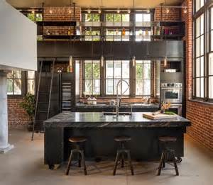 industrial loft kitchen invites exercise ladder climbing