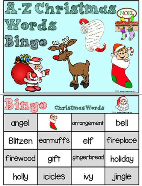 christmas words that start with n a z words bingo abc teaching resources