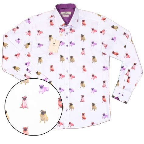 claudio lugli pug shirt claudio lugli pug print satin finish cotton l s shirt white adaptor clothing