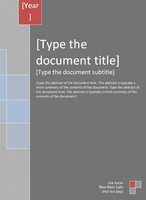 Template Cover by Report Cover Templates 5 Free Word Documents