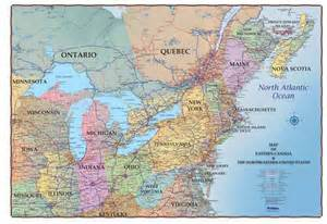 map east usa and canada northeastern usa and southeastern canada 36 quot x 48