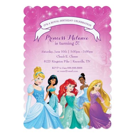 disney princess invitation card template disney princess birthday card zazzle