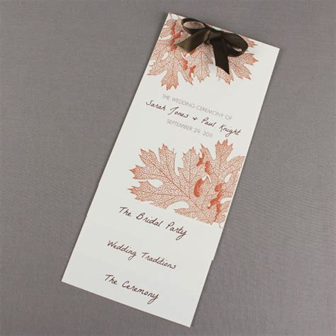 fall wedding program template layered style download