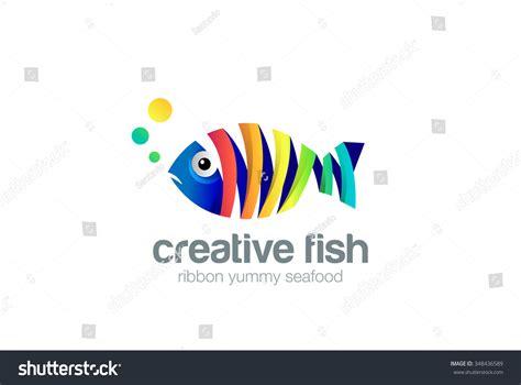 aquarium design eps colorful ribbon fish abstract logo design stock vector