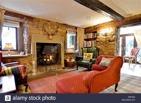stone and wood fireplace farmhouse living room with stone fireplace and wood