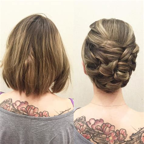 hairstyles for short hair up short hair can go up here is a more sleek updo using