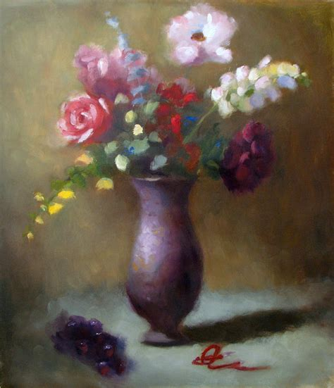 Painting Flowers In A Vase by Flower Vase By Keiko Richter