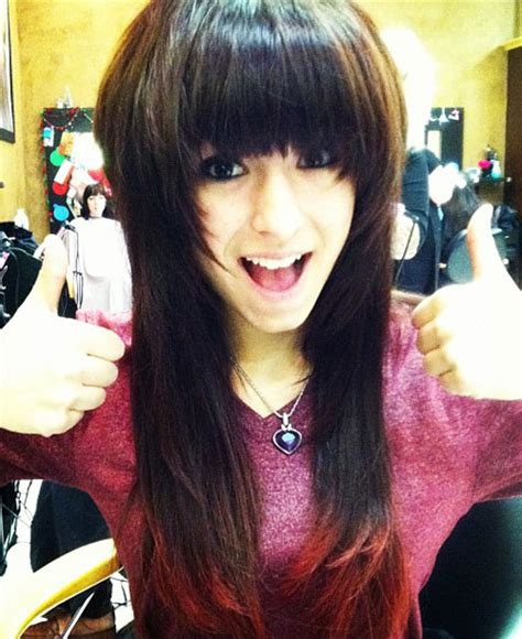 christina grimmie hairstyle pictures christina grimmie straight dark brown dip dyed straight