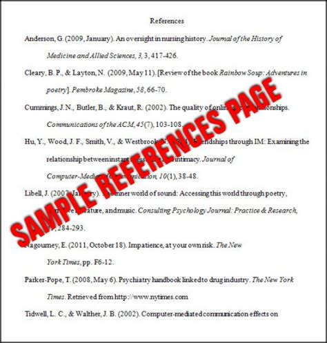 Apa Essay Format Reference Page by Format A References Page In Apa Style 6th Edition